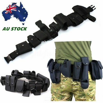 AU tility Kit Tactical Belt with 9 Pouches for Police Guard Security System HOT