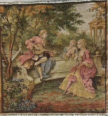 """Vintage Square Tapestry Panel Woven Music Park Garden 18"""" x 18"""" Pillow Hanging"""