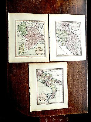 1801 Laurie Whittle 3 Maps Italy NW, Middle, and South Old Antique Sardinia Rome