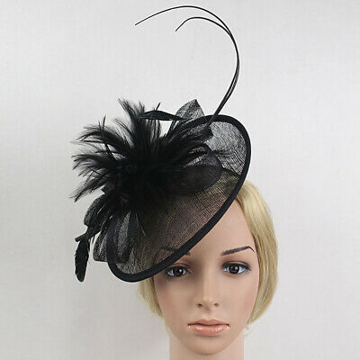 Wedding Race Party Fascinator Veil Net Hat with Flax and Feathers Hatinators