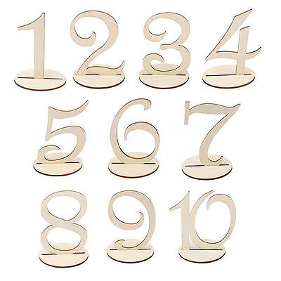 10pcs Wooden Table Numbers Freestanding 1-20 Wedding Birthday Party Decoration