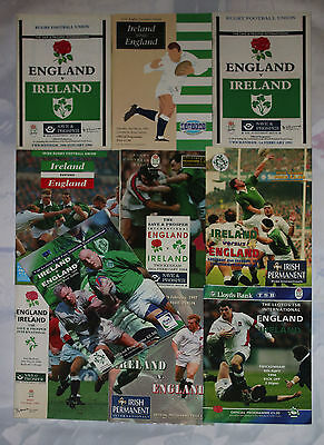 ENGLAND v IRELAND HOME AND AWAY RUGBY PROGRAMMES 1990 to 1999 GOOD+ CONDITION