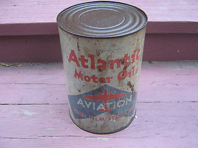 Atlantic Aviation Motor Oil 5 Quart Empty Can with top
