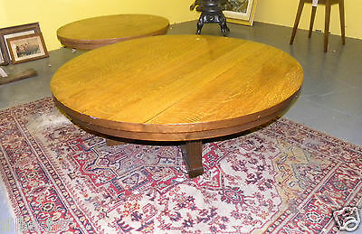 Vintage Round Mission Oak Coffee Parlor Table