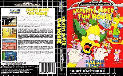 Krusty's Super Fun House Sega Mega Drive PAL Replacement Box Art Case Insert