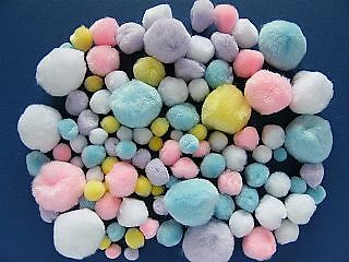 100 Pastel or Easter Mixed Colour & Size Craft Pom Poms | Fluffy Acrylic Pompoms
