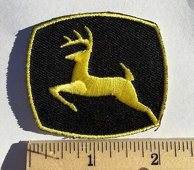 """JOHN DEERE PATCH*BLACK/YELLOW*Embroidered Iron-On Patch*2""""x2"""""""