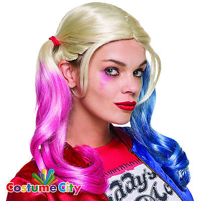 Womens Official Suicide Squad Harley Quinn Wig DC Fancy Dress Costume Accessory