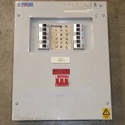 Proteus M9 distribution board with 12 x 20A 32A 40A MCB breaker & 100A switch