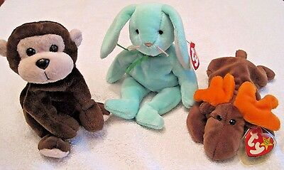 NWT Lot of 3 Beanie babies and toys  Moose,Hippity& Monkey by Ty & Kuddle Me toy
