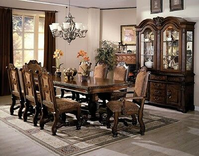 New 9-pcs Formal Dining Room Table Furniture Set Hand Carving Apron Fabric Seat