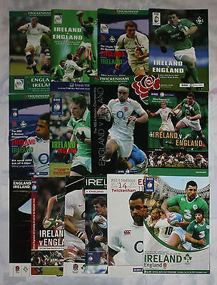 ENGLAND v IRELAND HOME AND AWAY RUGBY PROGRAMMES 2000 to 2015 GOOD+ CONDITION