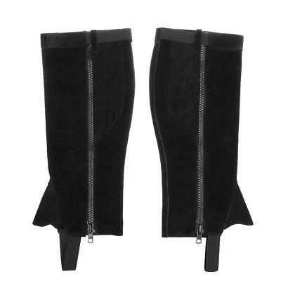 Equestrian Horse Riding Adult Half Chaps Boots Zipper Gaiters Suede Leather M-XL