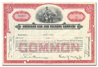 American Car and Foundry Company Stock Certificate