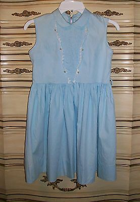 Mid-Century Vintage 1950's Girl's Pale Blue Sleeveless Cotton Dress
