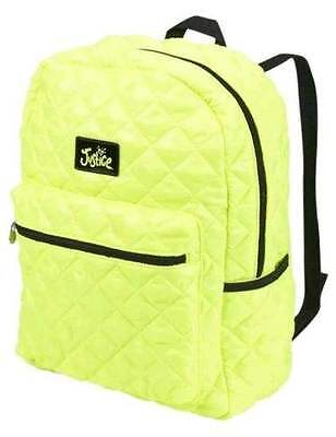 """Justice for Girls """"Quilted Rucksack Backpack Bag"""" Neon Yellow NWT!"""