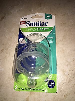 2pk Similac Simply Smart Bottle Nipples Level 3 Fast Flow 6m+ NEW