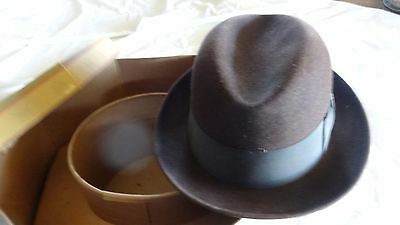 Vintage Knox Men's Fedora Hat Brown Felt Fifth Ave New York n Original Hat box