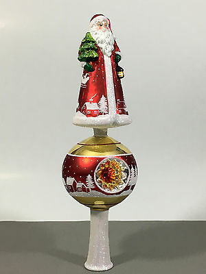 Glass Finial Christmas Tree Topper-SANTA CLAUS-handmade in Poland