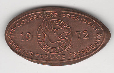 1972 McGovern For President Shriver for VP Rolled Cent Democrat Donkey Penny