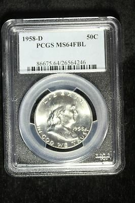 1958 D Franklin Silver Half Dollar Coin Proof Pcgs Ms64Fbl #64246