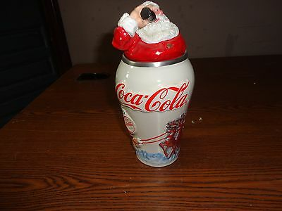 """Coca Cola 1994 Lidded Beer Stein """"Travel Refreshed Santa"""" #1 Limited Edition"""
