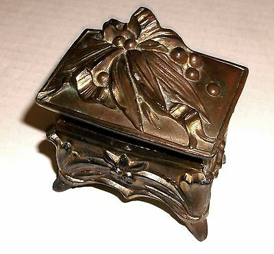 Old Antique Victorian Art Nouveau footed metal Jewelry Casket Ring Box