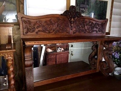 Antique Fancy Carved Dark Oak Buffet Sideboard with Mirror and shelf c1900
