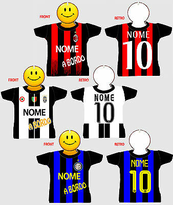 MINI T-SHIRT A BORDO JUVE MILAN INTER nome numero a scelta  NEW