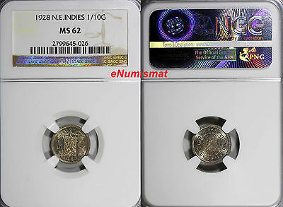 Netherlands East Indies Wilhelmina I Silver 1928 1/10 Gulden NGC MS62 KM# 311