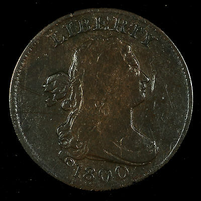 Half Cent Draped Bust. 1800 Very Fine. C-1 Late State. Lot # 9012-60-001