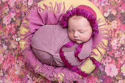 Crochet Bonnet hat, Newborn Photo Prop, Baby girl flower hat, Reborn doll