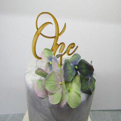 Laser Cut Wooden Birthday Cake Topper - One