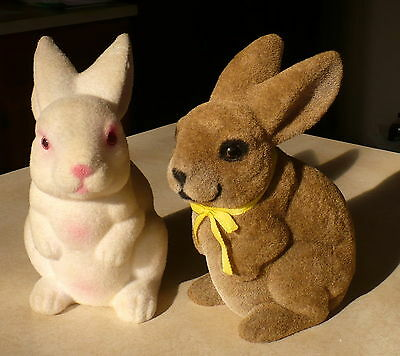 Vtg White Flocked Rabbit Bank Hong Kong & Brown Flocked Easter Bunny