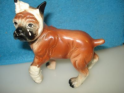 """ Ya Ota see the other guy"" Boxer Ceramic Dog Scrapper Hand Painted 1950's"