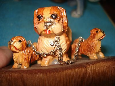 Pekingese Dogs Hand Carved Red Wood Chained Babies Muir Woods California 1966