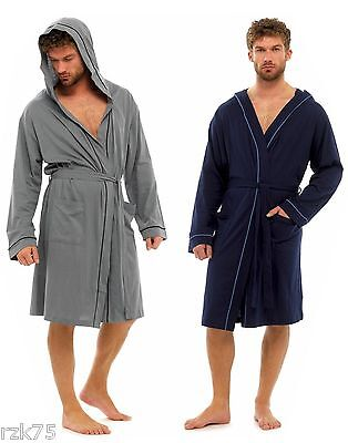 Men's Jersey Robe Dressing Gown, Soft Cotton Hooded Robe Wrap Loungewear, H21