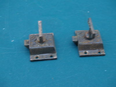 """Pair Of Antique * Eastlake  * Cabinet Latches *  C I,   Brass """"t"""" Handle"""
