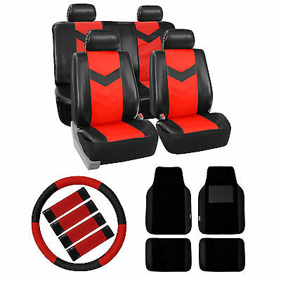 Car Leather Seat Cover Floor Mats Steering Belt Pads Combo Red