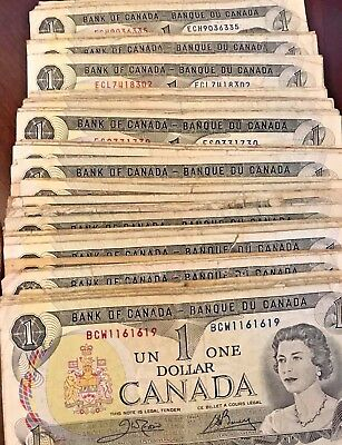 1973 Canadian $1.00 One Dollar Circulated Note - Different Prefixes