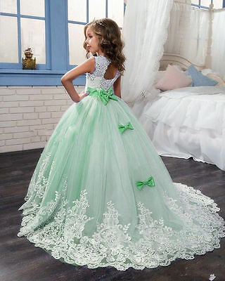Wedding Birthday Flower Girls Formal Princess Dress Pageant Ball Gown Party Prom