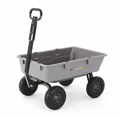 "Gorilla Carts Poly Garden Dump Cart with Steel Frame and 10"" Pneumatic Tires wit"