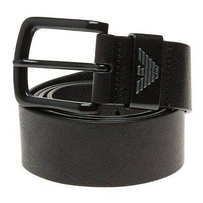New Mens Armani Jeans Black Logo Leather Belt Belts