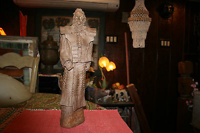 Antique Japanese Pottery Sculpture Statue Of Samurai Warrior-Large & Heavy-Large