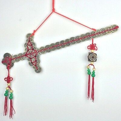"""Chinese Coin Sword 78 Coins Feng Shui Vintage 17""""L x 5.5""""W New"""