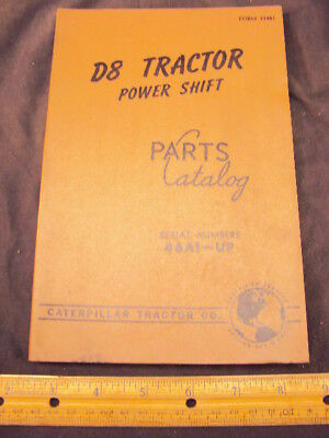 1959 CAT Caterpillar D8 Tractor Parts Manual Book ORIG