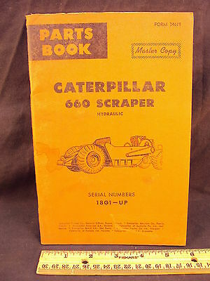 1962 62 CAT Caterpillar Number 660 Hydraulic Scraper Parts Manual Book