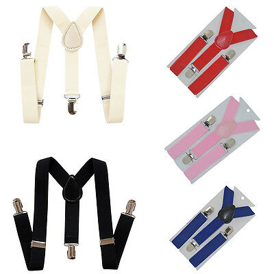 Kids Boys Girls Elastic Clip-on Y-Shape Adjustable Braces Suspenders 7 Colors