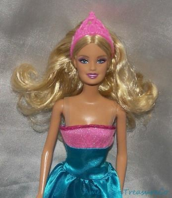 Barbie Glam Princess Doll Generation Girl Blonde w/Aqua Satin Gown & Pink Crown