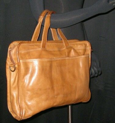 Durkee's Express. Tan Leather , Laptop, Organizer, Briefcase, Men or Womens bag